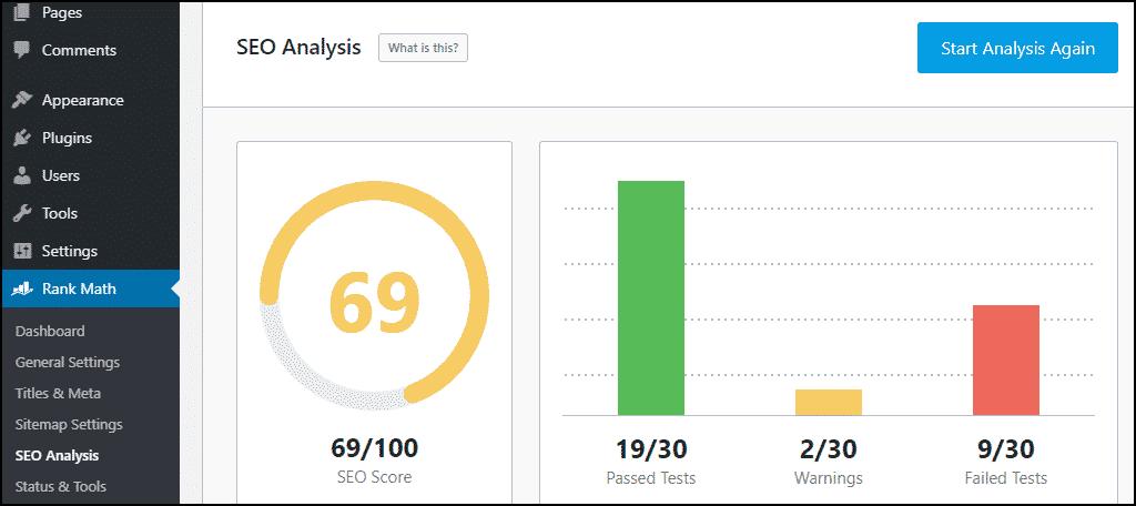 Hasil analisis seo plugin Rank Math WordPress