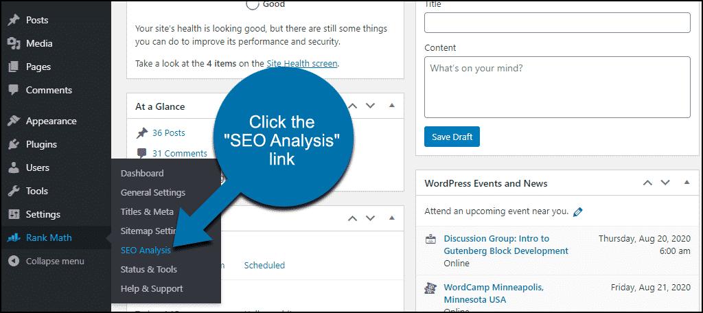 "Plugin Rank Math WordPress klik link ""Analisis SEO"""