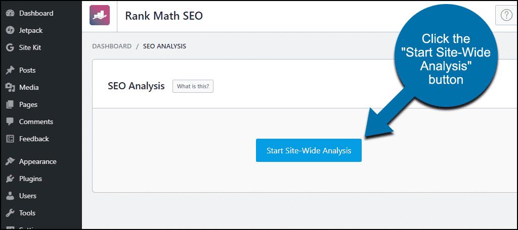 """Plugin Rank Math WordPress klik tombol """"Mulai Analisis Seluruh Situs"""""""